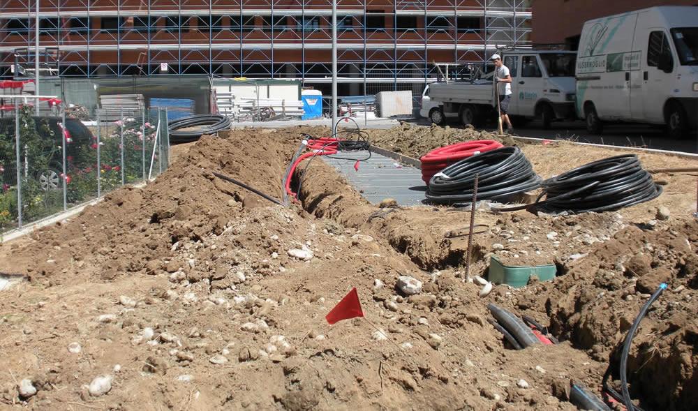 Complesso polifunzionale a Treviso durante gli scavi