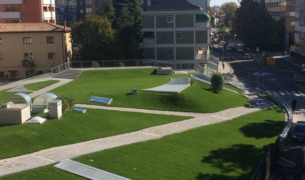 Foto aerea di giardino pensile realizzato da Il Germoglio