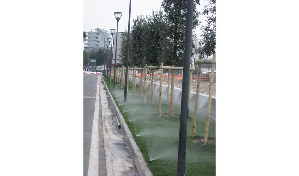 Impianto di irrigazione per aiuola pubblica realizzato da Il Germoglio