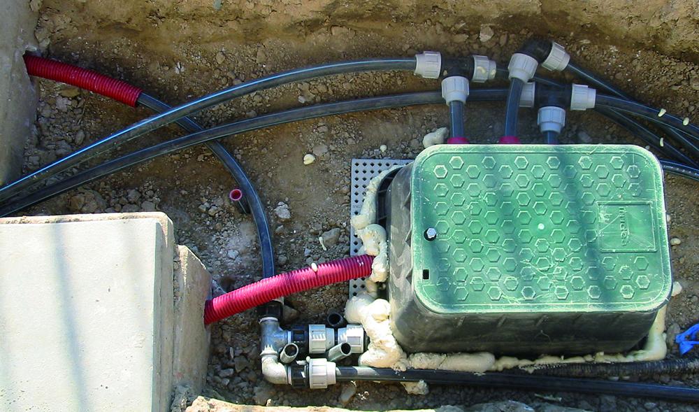 Dettaglio di impianto di irrigazione realizzato da Il Germoglio