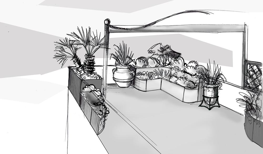Bozzetto di terrazzo progettato da Il Germoglio
