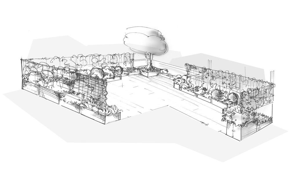 Bozza grafica di terrazzo progettato da Il Germoglio